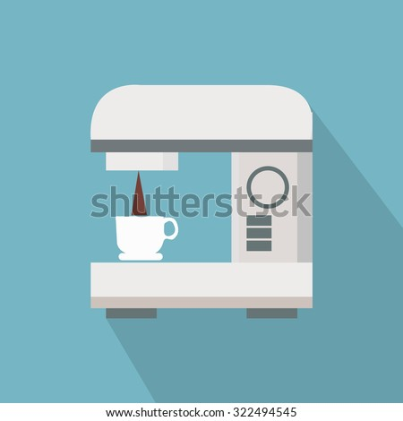 Coffe Maker Illustration Over Blue Color Stock Vector 322494545 ...