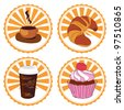 coffee and cake - stock vector