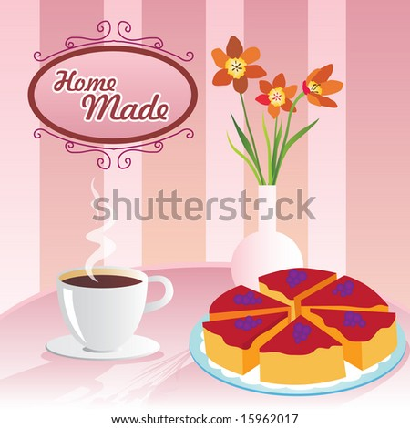 Coffee and cake with - stock vector