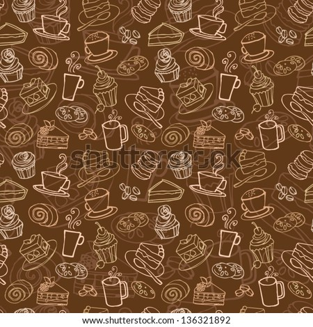 stock vector coffee and cakes seamless background pattern 136321892 - Каталог — Фотообои «Еда, фрукты, для кухни»