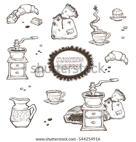 Coffee and dessert vector set illustration. Food elements isolated on white background. Coffee grinder, cup, muffins, chocolate in style of vintage