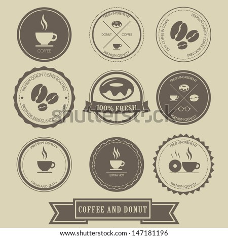 Coffee and Donut Label Design - stock vector