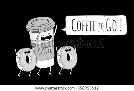 Coffee and donuts vector illustration. Vintage style. Coffee to go. Comic characters. - stock vector