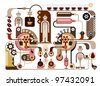 Coffee and Factory - vector illustration. Restaurant, cafe. - stock photo