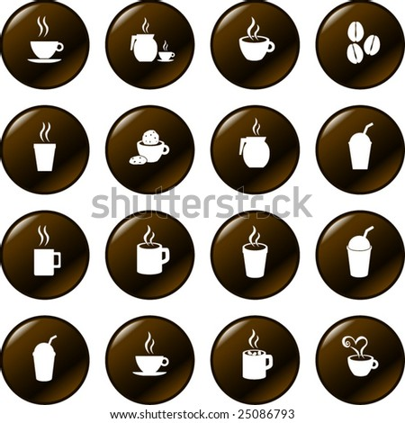 coffee and hot beverages button set - stock vector