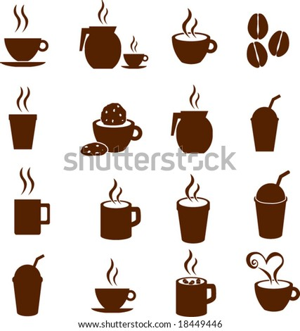 coffee and hot beverages symbol set 1 - stock vector
