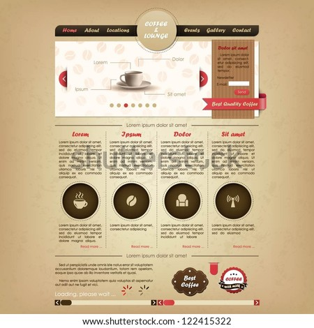 Coffee and lounge website design template - stock vector