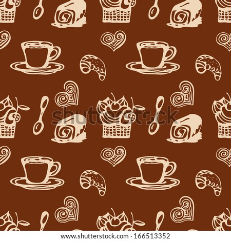 Coffee and sweet baking.Vector seamless pattern.  - stock vector