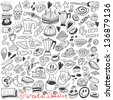 coffee and sweets - doodles  - stock vector
