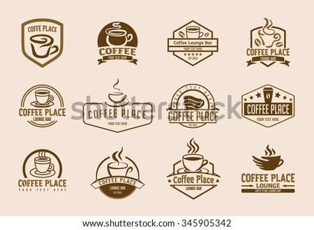 Coffee and tea cup logo illustration set - stock vector