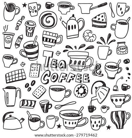 coffee and tea cups ,  sweets - doodles set - stock vector