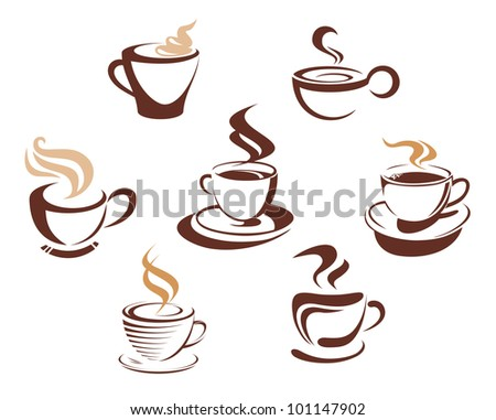 Coffee and tea cups symbols for fast food or restaurant design. Jpeg version also available in gallery - stock vector