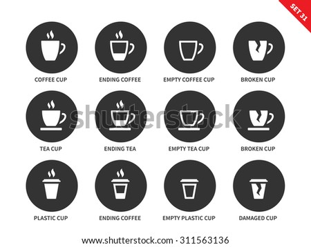 Coffee and tea cups vector icons set. Hot drinking and relax concept. Items for advertising in restaurants and cafes, ending coffee cups, plastic, empty and damaged cups. Isolated on white background - stock vector