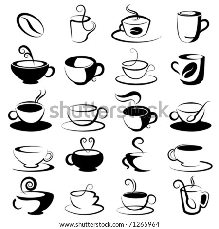 coffee and tea design elements - stock vector