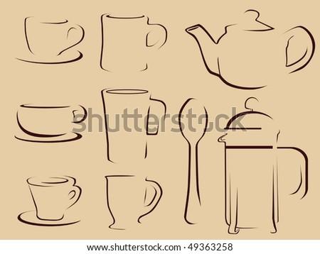 Coffee and tea icon set vector - stock vector