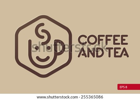 Coffee and tea logo design template. Cafe shop emblem sign icon. - stock vector