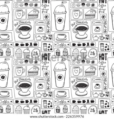 Coffee and Tea Seamless Background - stock vector