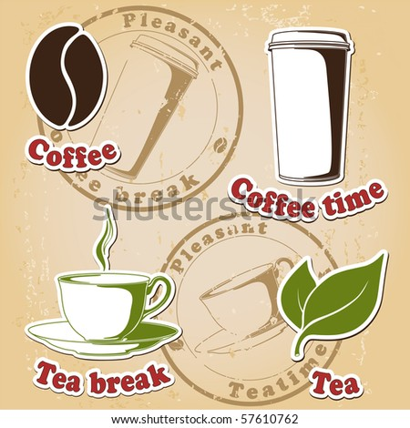 coffee and tea set (stamps and symbols). Vector - stock vector
