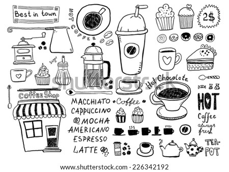 Coffee and tea sketches - stock vector