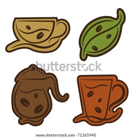coffee and tea symbols - stock vector