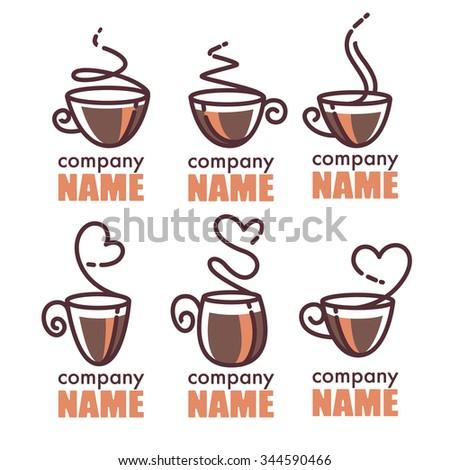 coffee and tea, vector linear logo collection - stock vector