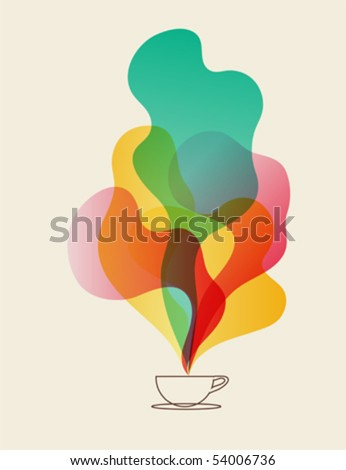 Coffee aroma dreams - cup of coffee vector eps10 - stock vector