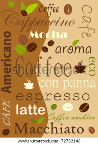 Coffee background, various kinds - vector illustration - stock vector