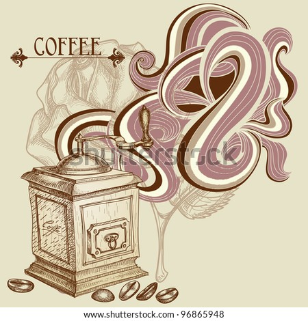 Coffee background, vintage coffee mill