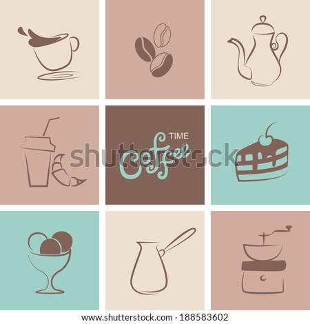 Coffee, bakery and icecream symbol vector set - stock vector