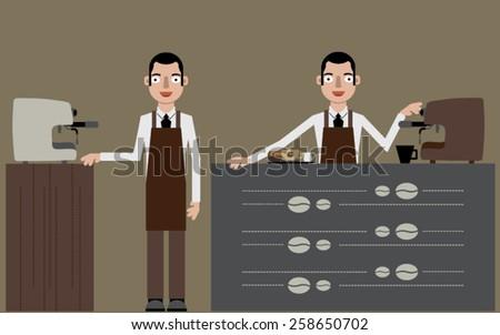 Coffee barista - stock vector