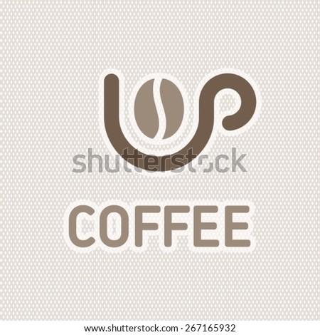 Coffee bean in cup creative logo - stock vector