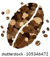 Coffee bean shape made from coffee beans. Vector background. - stock vector