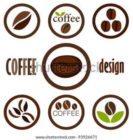 Coffee bean symbols for design. Vector icons - stock vector