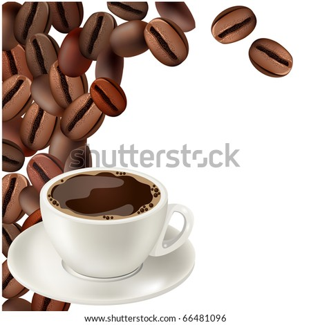 Coffee beans and cup of hot coffee - stock vector
