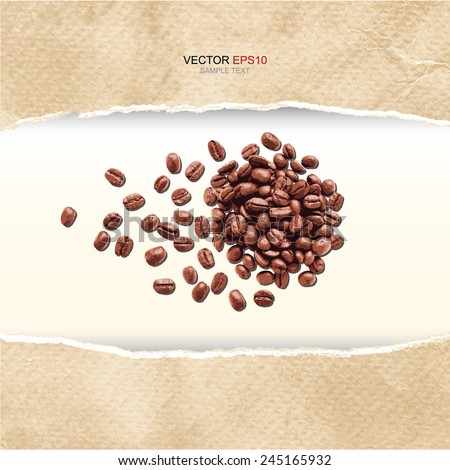 Coffee beans in frame of ripped vintage paper texture. Vector illustration. - stock vector