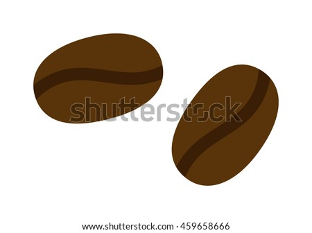 Coffee beans vector illustration black espresso natural aroma breakfast. Caffeine beverage cafe food coffee beans roasted dark ingredient. Natural aroma coffee beans agriculture energy. - stock vector