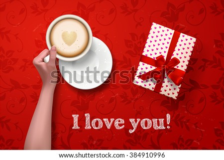 coffee break. hand holding cup of coffee with gift box on red vector background. latte it`s coffee time. I love coffee. I love you - stock vector