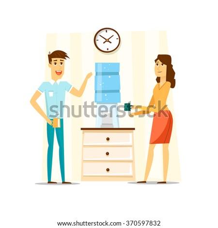Coffee break, Man and woman drinking tea in an office. Flat vector illustration. - stock vector