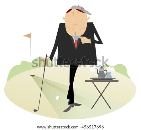 Coffee break on the golf course. Man has a cup of coffee on the golf course  - stock vector