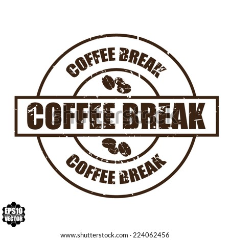 Coffee break With Coffee Bean Sign On Color Vintage Label, Sticker And Tag. Vector. - stock vector