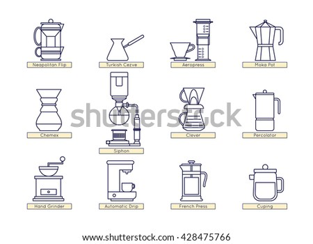 Coffee brewing methods icons set. Different ways of making hot energy drink. Detailed stylish modern flat vector illustration and design element. - stock vector