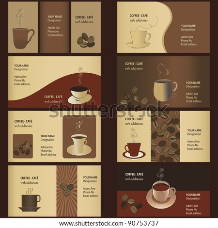 Coffee Business Card Templates (8 set) - stock vector