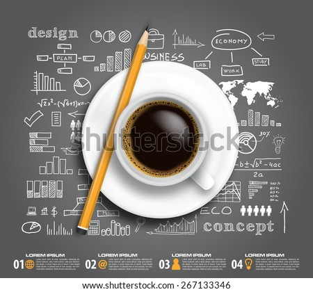 coffee business plan infographic in vector format - stock vector