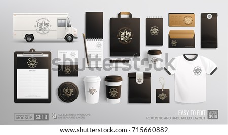 Coffee, Cafe, Food delivery truck - ?orporate identity branding Mockup. Realistic MockUp set of food truck, uniform, envelope, cup, paper pack, menu. Coffee, Fast food package