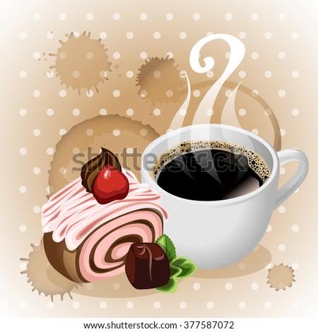 Coffee. Cake. Breakfast. Dessert. Background. Vector. - stock vector