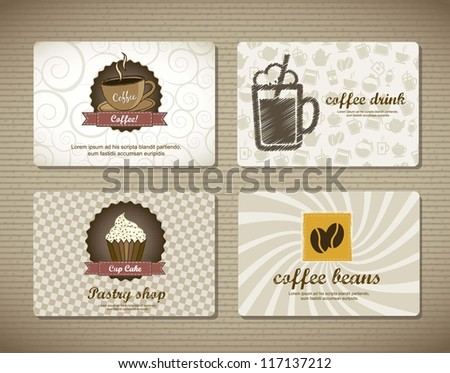 coffee cards over cardboard texture. vector illustration