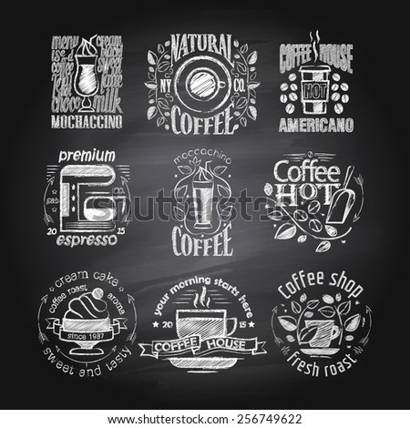 Coffee chalk drawing labels on blackboard - stock vector