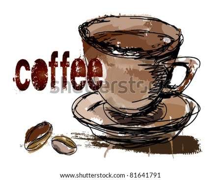 coffee, coffee beans. - stock vector