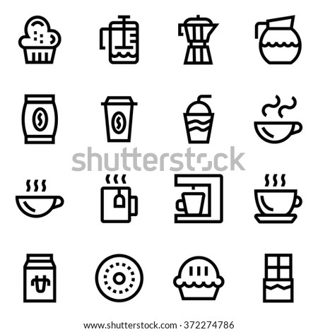 Coffee, coffee shop line icon set. Pixel perfect fully editable vector icon suitable for websites, info graphics and print media. - stock vector