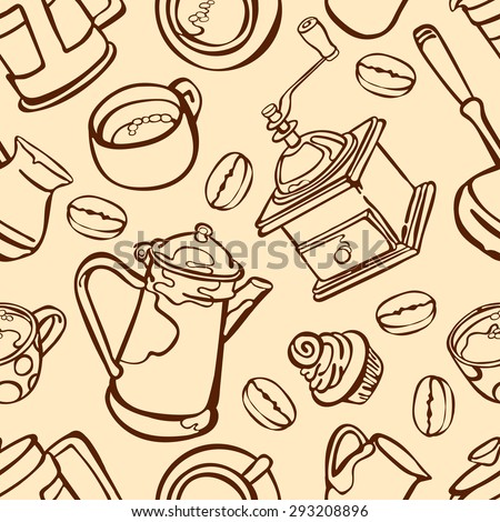 Coffee. Coffee theme. Set number two. Desserts. Vector seamless illustration with image of coffee, coffee pots, coffee cups, cake, coffee beans, coffee stains. Bright picture. Hot invigorating drink. - stock vector